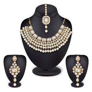 Appealing Golden Colored Stone Work Mix Metal Necklace Set