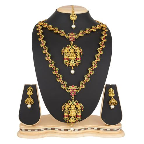 Groovy Golden Colored Stone Work Mix Metal Necklace Set