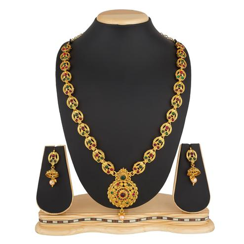 Prominent Golden Colored Stone Work Mix Metal Necklace Set