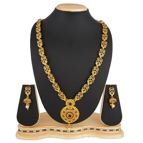 Capricious Golden Colored Stone Work Mix Metal Necklace Set