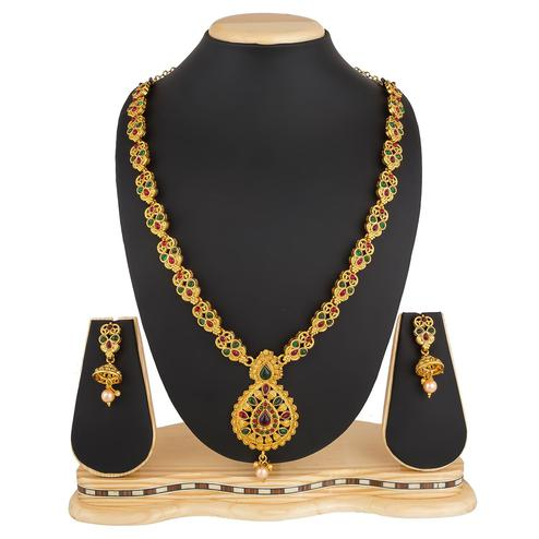 Adorning Golden Colored Stone Work Mix Metal Necklace Set