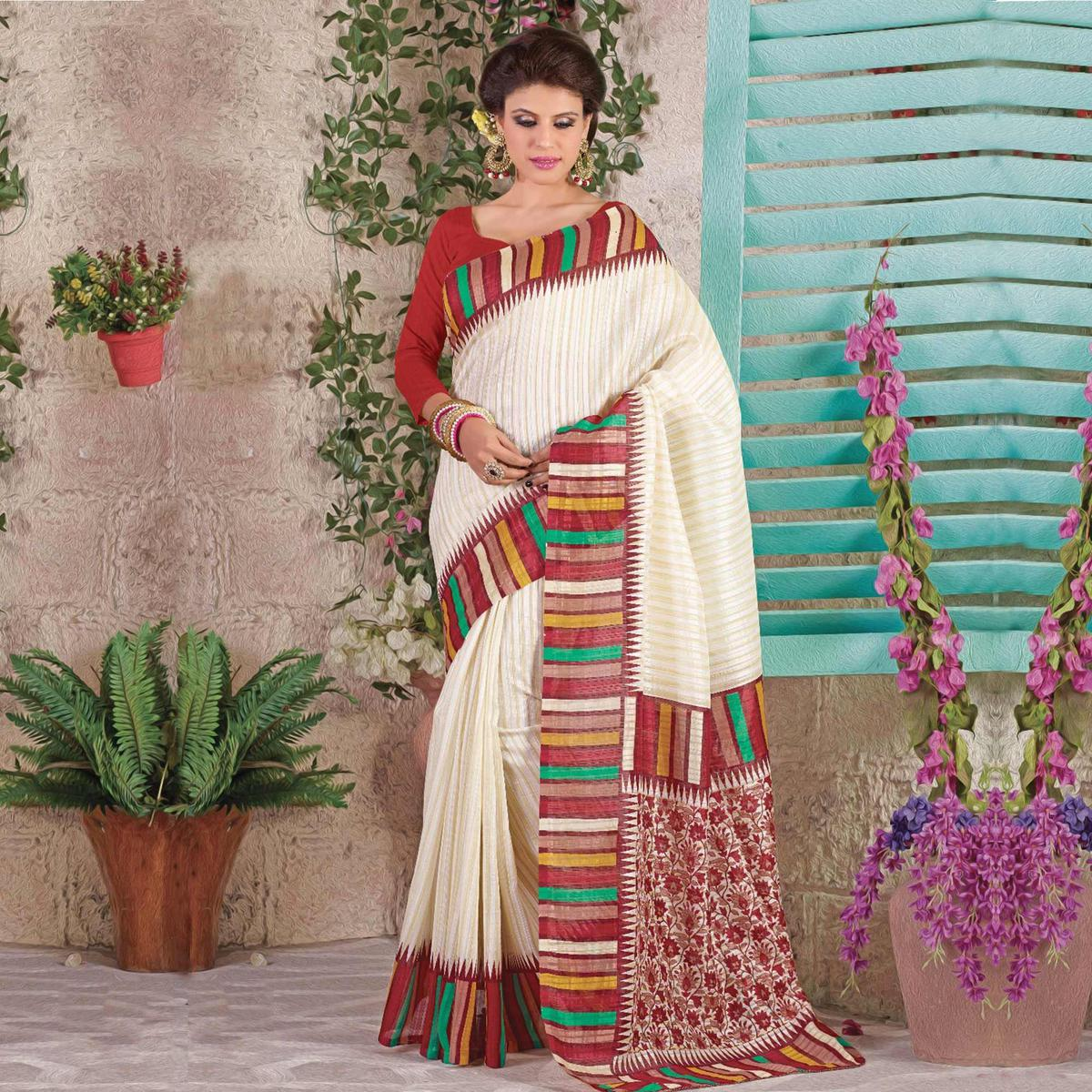 Cream Art Silk Casual Wear Printed Saree