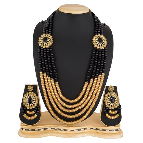 Captivating Golden Colored Stone Work Mix Metal Necklace Set