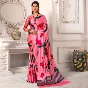Adorable Pink Colored Casual Wear Printed Silk Saree