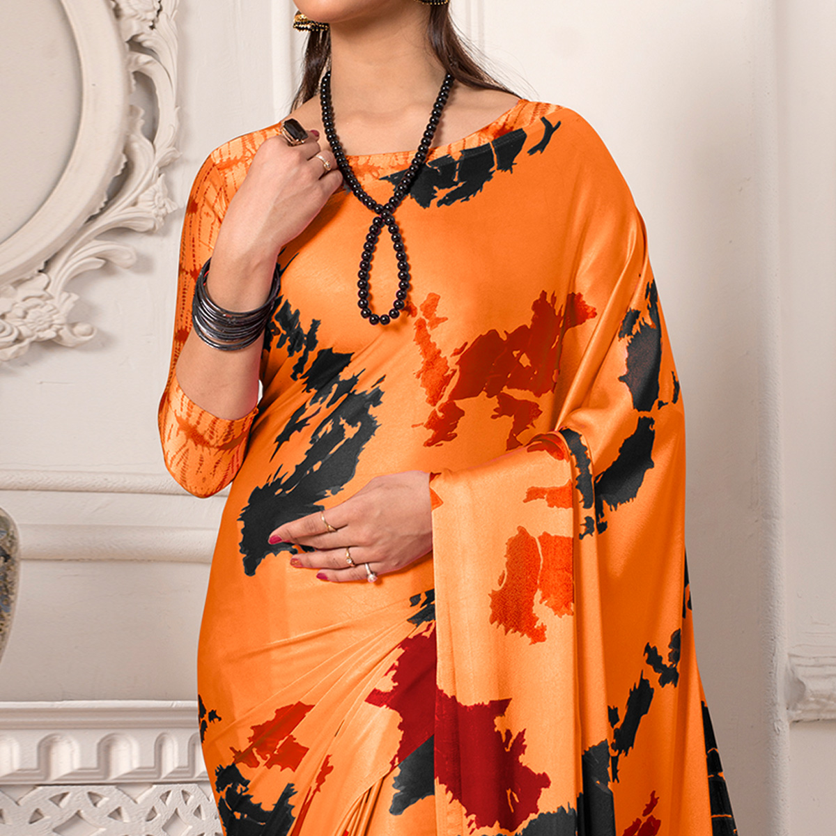Attractive Orange Colored Casual Wear Printed Silk Saree