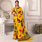 Beautiful Yellow Colored Casual Wear Printed Silk Saree