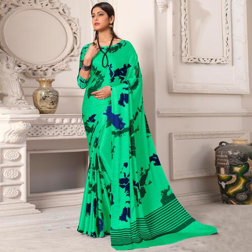 Gorgeous Sea Green Colored Casual Wear Printed Silk Saree