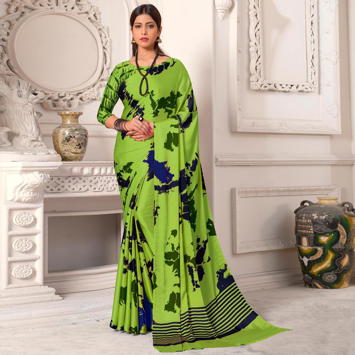 Classy Green Colored Casual Wear Printed Silk Saree