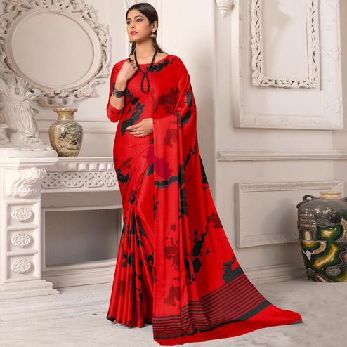 Glorious Red Colored Casual Wear Printed Silk Saree