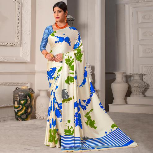 Graceful White - Blue Colored Casual Wear Printed Silk Saree