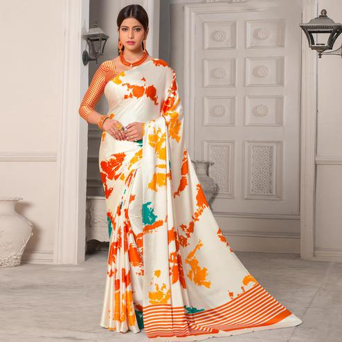 Lovely White - Orange Colored Casual Wear Printed Silk Saree