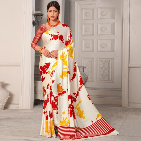 Pretty White - Red Colored Casual Wear Printed Silk Saree