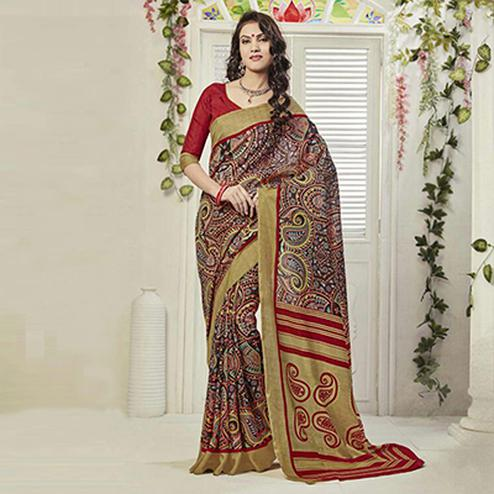 Red - Beige Paisley Design Printed Saree