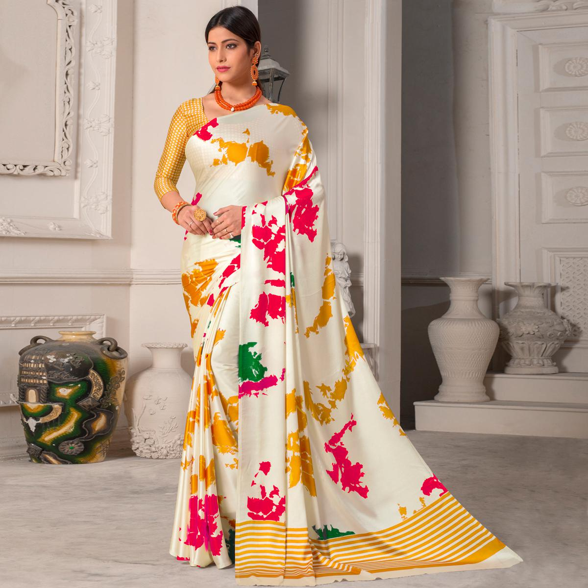 Charming White - Yellow Colored Casual Wear Printed Silk Saree