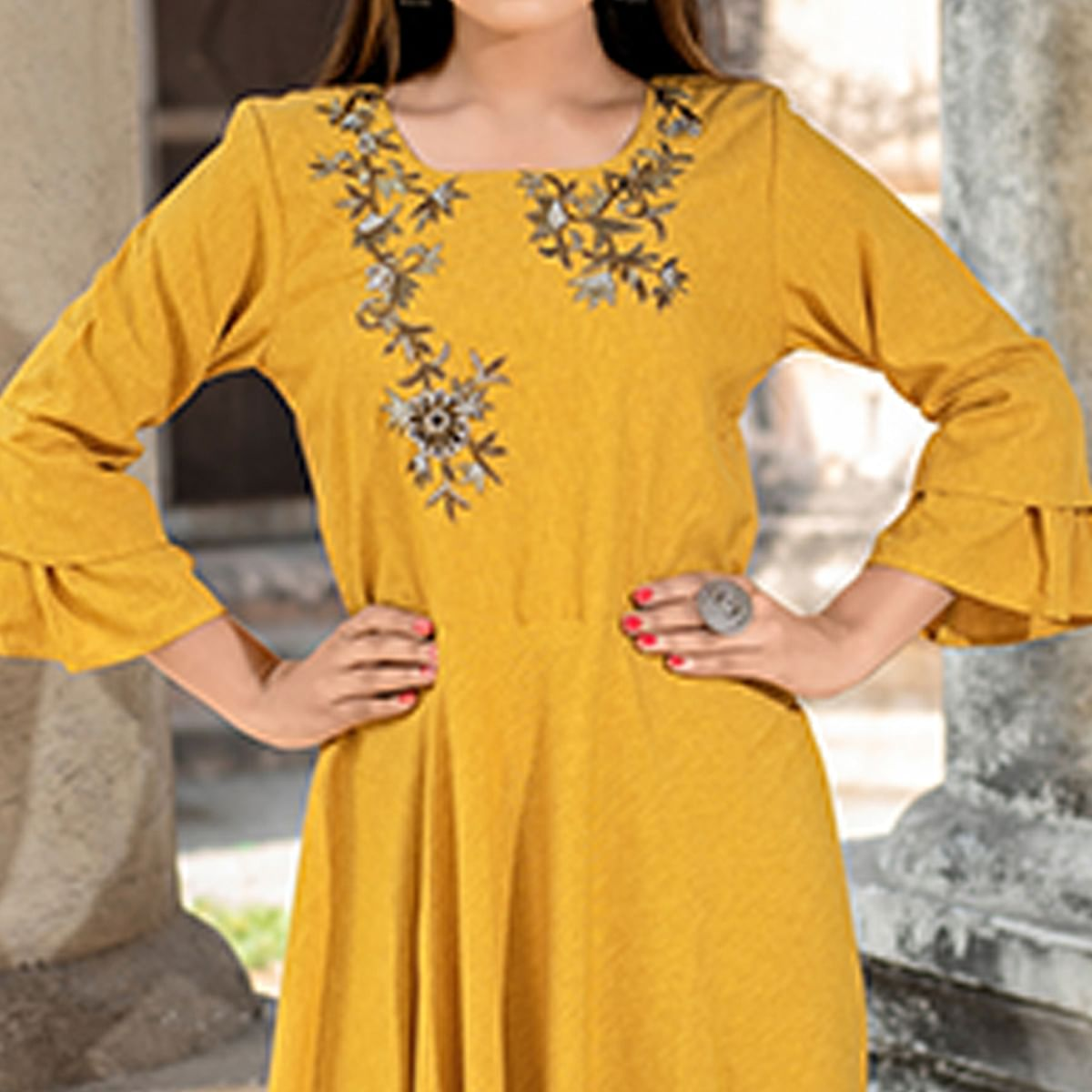 Flaunt Mustard Yellow Colored Partywear Embroidered Cotton Kurti