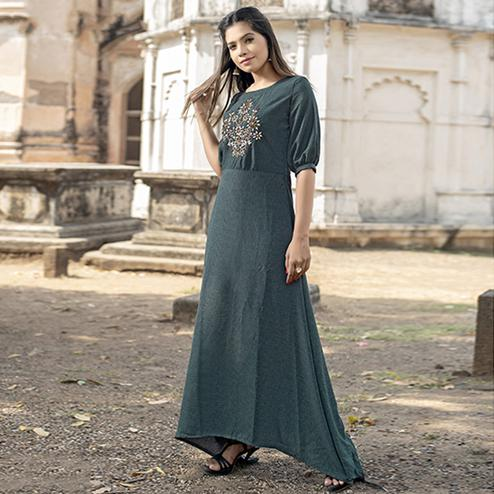 Energetic Dark Grey Colored Partywear Embroidered Cotton Kurti