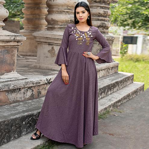 Magnetic Light Purple Colored Partywear Embroidered Cotton Kurti