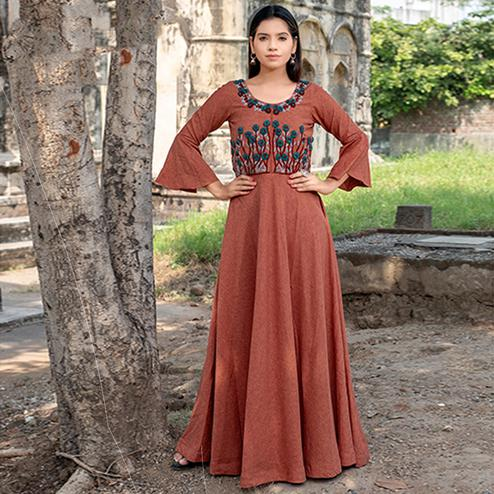 Hypnotic Rust Red Colored Partywear Embroidered Cotton Kurti
