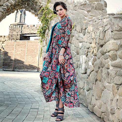 Ideal Multi Colored Partywear Printed Satin Kurti