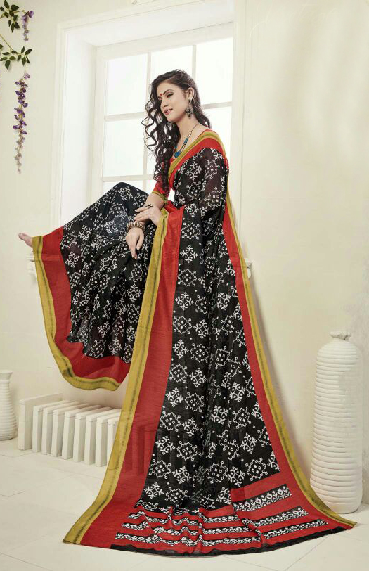 Black - Red Printed Art Silk Saree