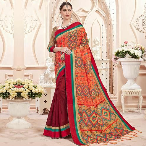 Charming Orange-Maroon Colored Festive Wear Printed Art Silk Half-Half Saree