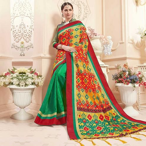 Ravishing Multi-Green Colored Festive Wear Printed Art Silk Half-Half Saree
