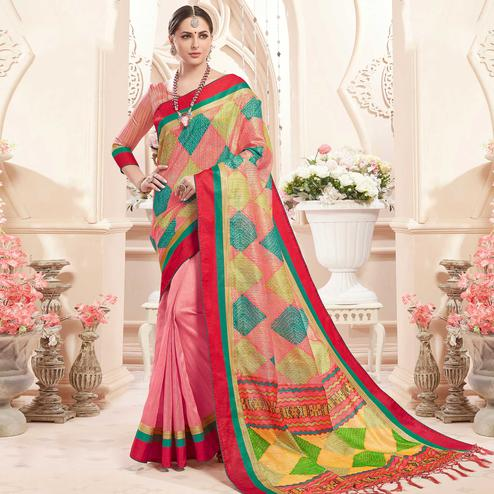 Delightful Pink Colored Festive Wear Printed Art Silk Half-Half Saree