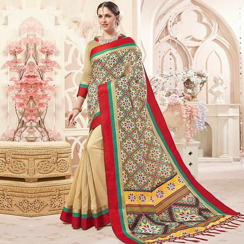 Sensational Cream Colored Festive Wear Printed Art Silk Half-Half Saree