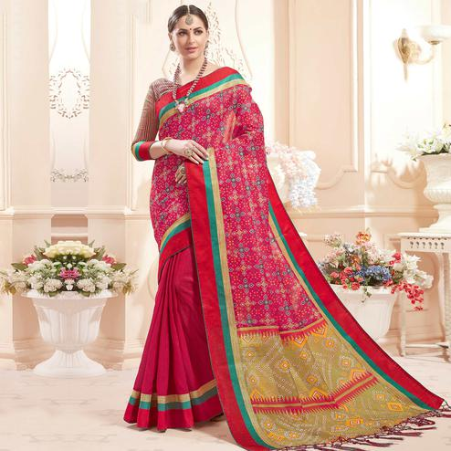Alluring Dark Pink Colored Festive Wear Printed Art Silk Half-Half Saree