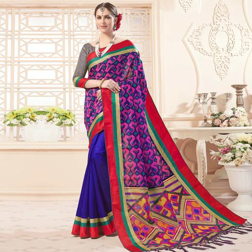 Refreshing Royal Blue Colored Festive Wear Printed Art Silk Half-Half Saree