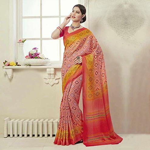 Light Pink - Yellow Art Silk Saree