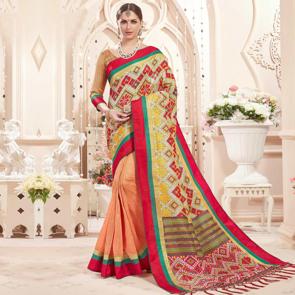 Captivating Peach Colored Festive Wear Printed Art Silk Half-Half Saree