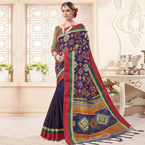 Adorning Purple Colored Festive Wear Printed Art Silk Half-Half Saree