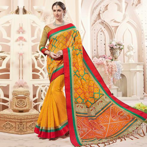 Capricious Mustard Yellow Colored Festive Wear Printed Art Silk Half-Half Saree
