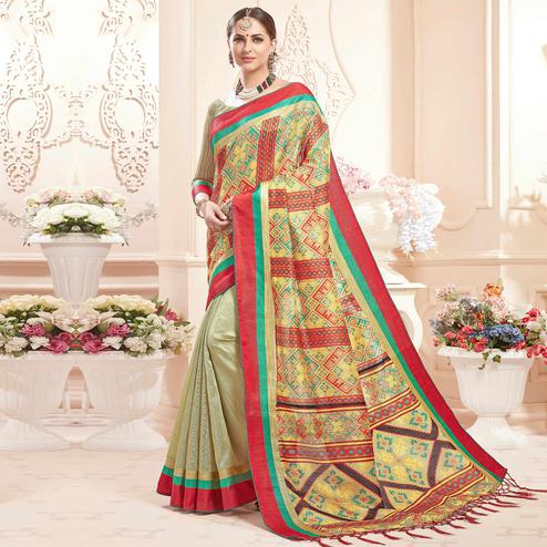 Prominent Mint Green Colored Festive Wear Printed Art Silk Half-Half Saree
