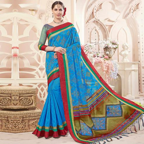 Groovy Blue Colored Festive Wear Printed Art Silk Half-Half Saree