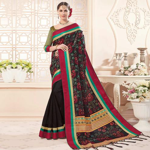 Appealing Black Colored Festive Wear Printed Art Silk Half-Half Saree