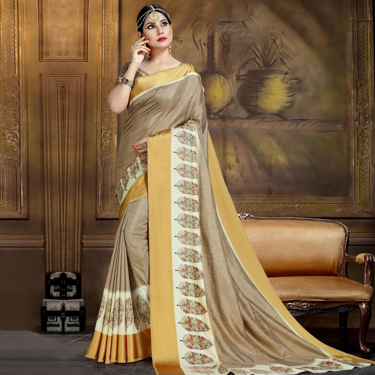 Pleasance Beige Colored Festive Wear Printed Art Silk Saree