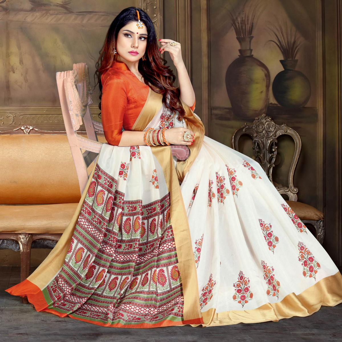 Engrossing White Colored Festive Wear Printed Art Silk Saree