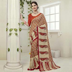 Red - Cream Casual Wear Saree