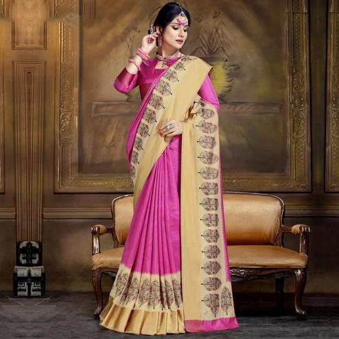 Ideal Pink Colored Festive Wear Printed Art Silk Saree