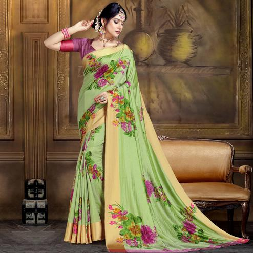 Surpassing Light Green Colored Festive Wear Printed Art Silk Saree