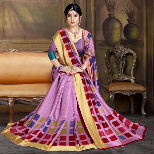 Attractive Light Purple Colored Festive Wear Printed Art Silk Saree