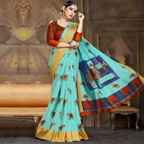 Majesty Aqua Blue Colored Festive Wear Printed Art Silk Saree