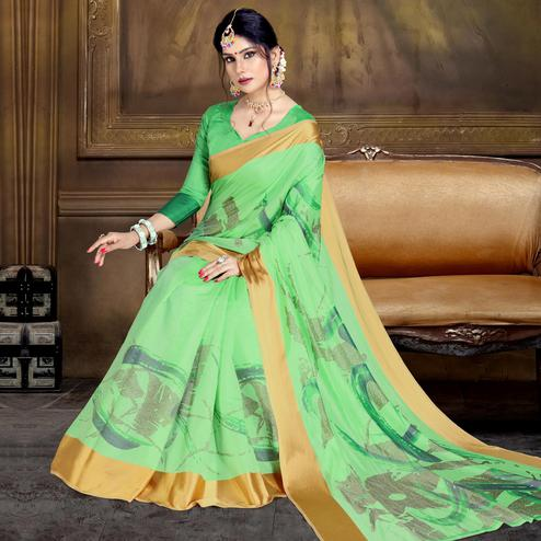 Exotic Light Green Colored Festive Wear Printed Art Silk Saree
