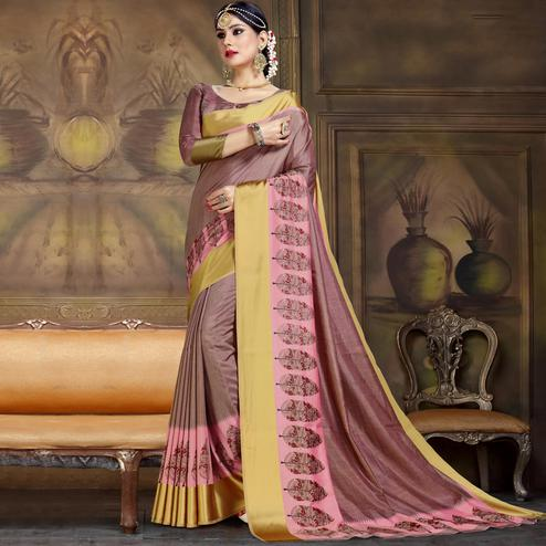 Amazing Mauve Colored Festive Wear Printed Art Silk Saree