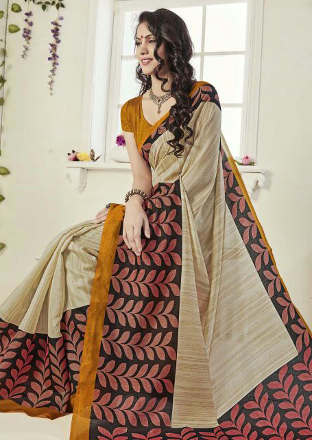 Beige - Black Art Silk Printed Saree