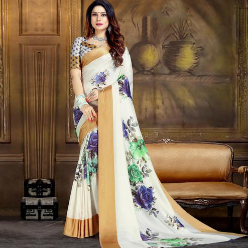 Eye-catching White Colored Festive Wear Printed Art Silk Saree