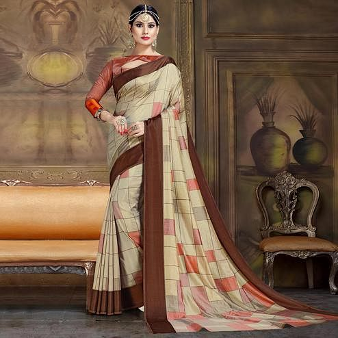 Ravishing Beige Colored Festive Wear Printed Art Silk Saree