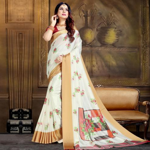 Mesmerising White Colored Festive Wear Printed Art Silk Saree